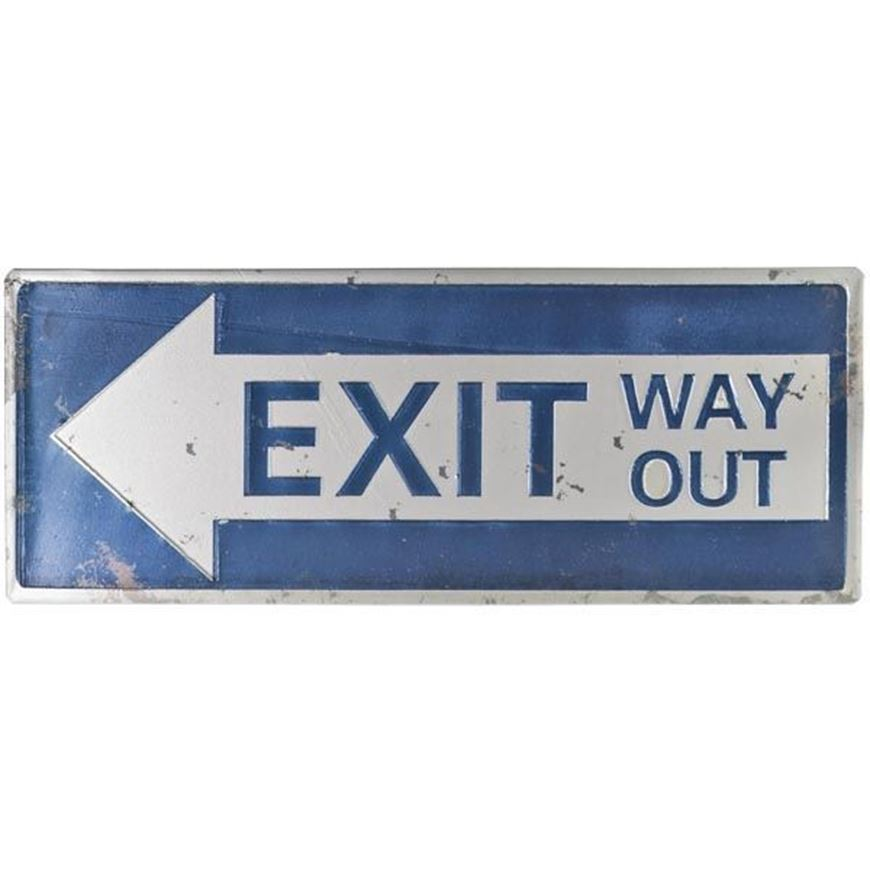 WAY OUT wall decoration 38x15 blue