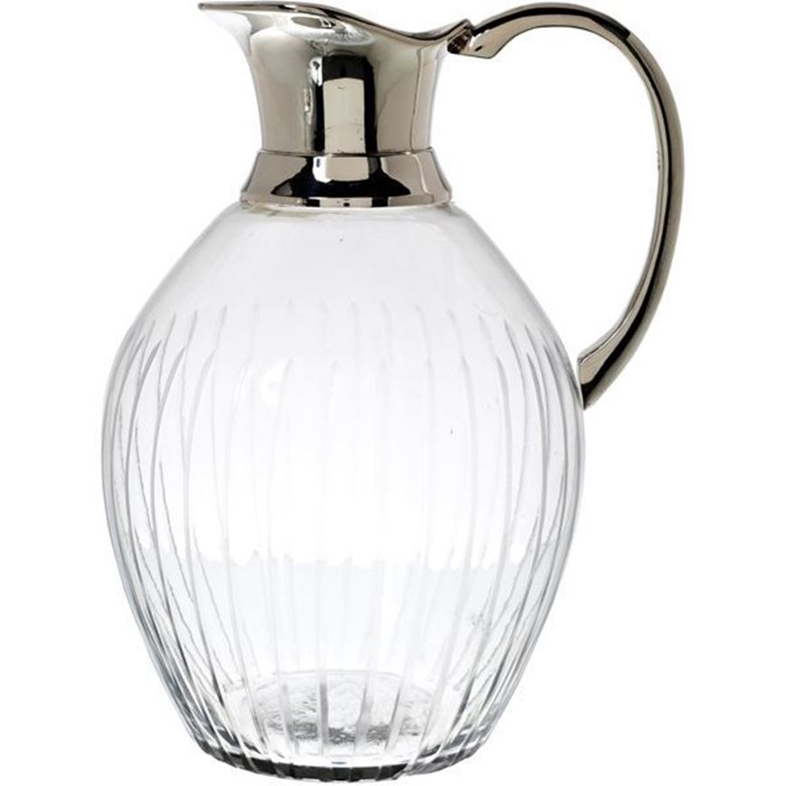 TARU jug h24cm clear/silver