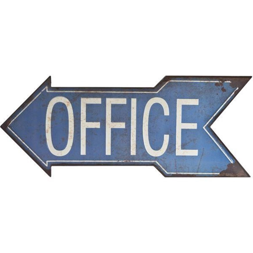 OFFICE wall decoration 47x19 blue