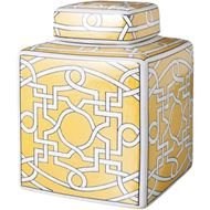 NORI jar with lid h21cm yellow/white
