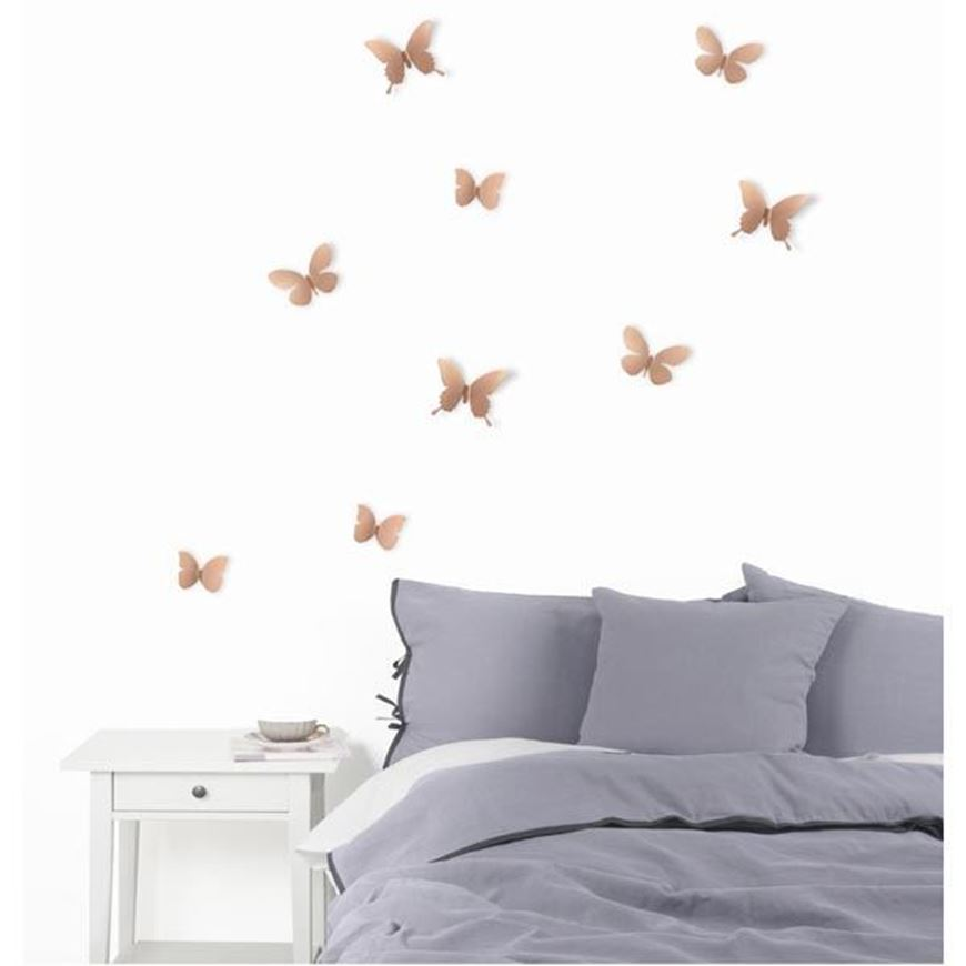MARIPOSA wall decoration set of 9 copper