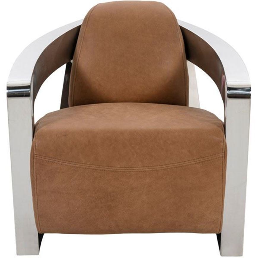 TURNER armchair leather brown