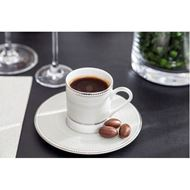RUBEEN espresso cup & saucer set of 4 white/silver