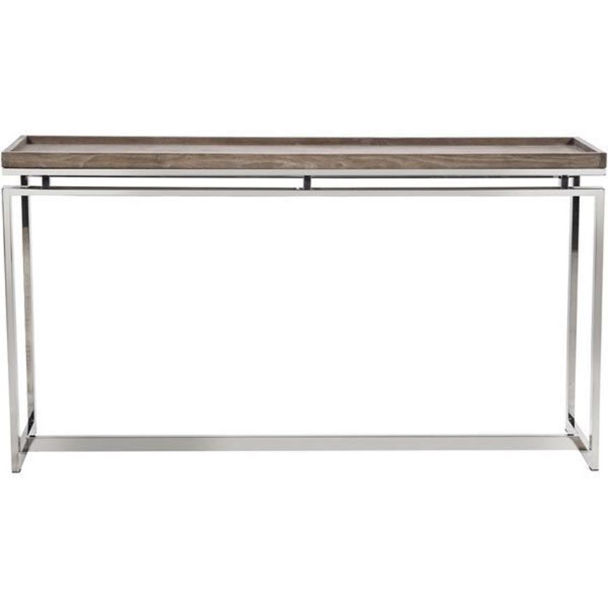LEORA console 159x39 brown/stainless steel