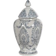 KEIRA jar with lid h30cm blue/white