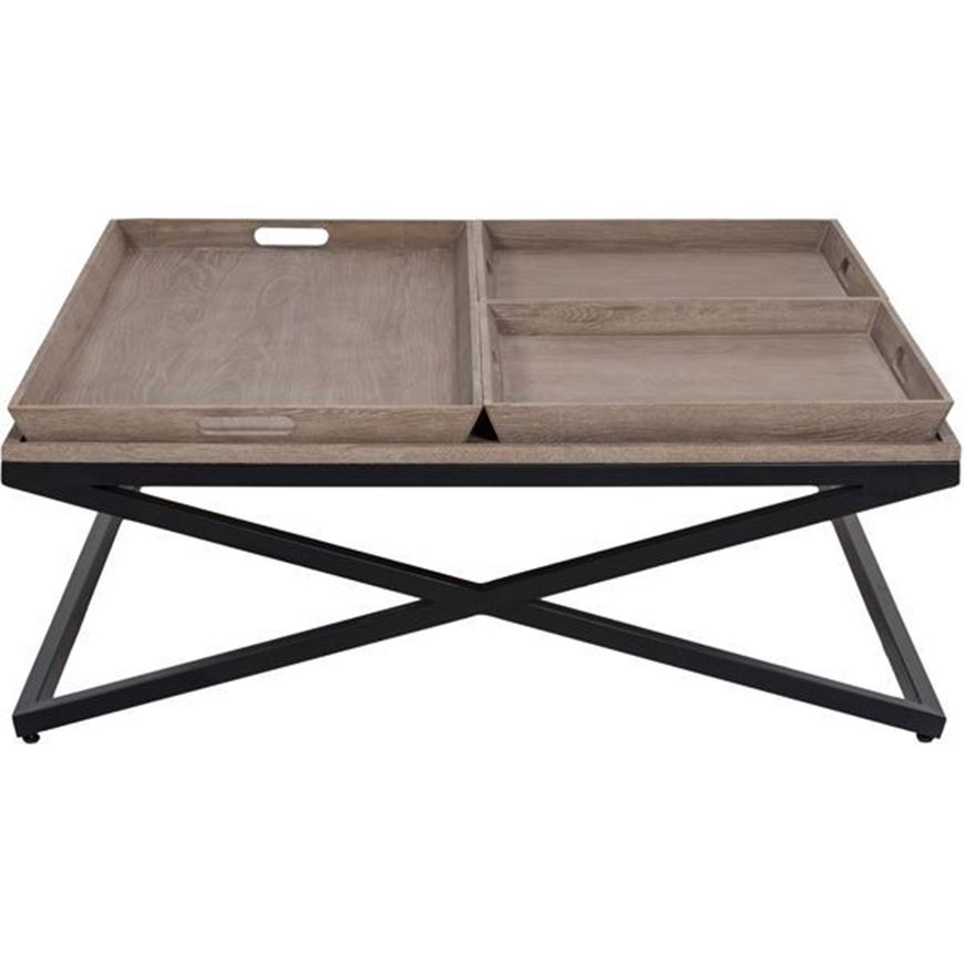 FLABY coffee table 120x120 brown/black