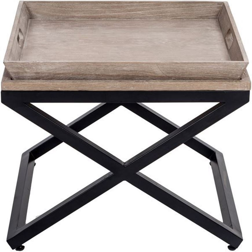 FLABY side table 60x60 brown/black