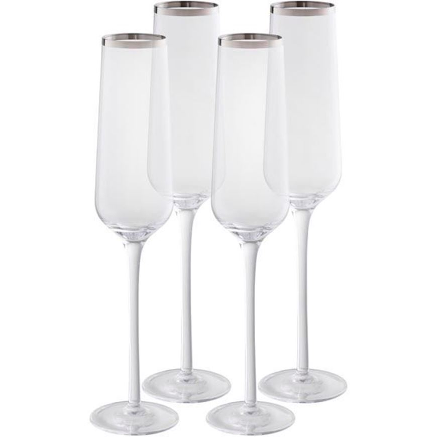 PLATIN stem glass h26cm set of 4 clear/silver