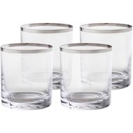 PLATIN tumbler h9cm set of 4 clear/silver