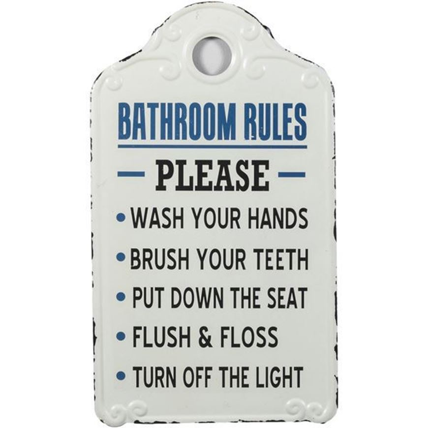 BATHROOM RULES wall decoration 26x46 white