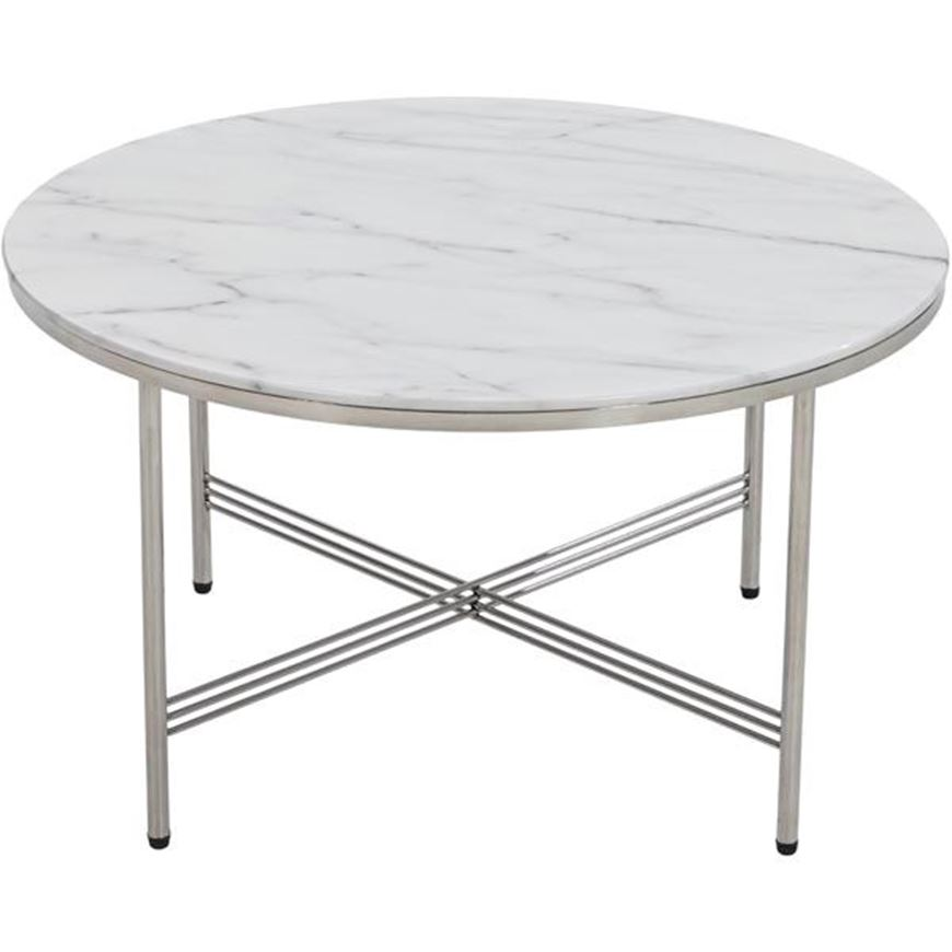 Picture of TRISH coffee table d70cm white/stainless steel