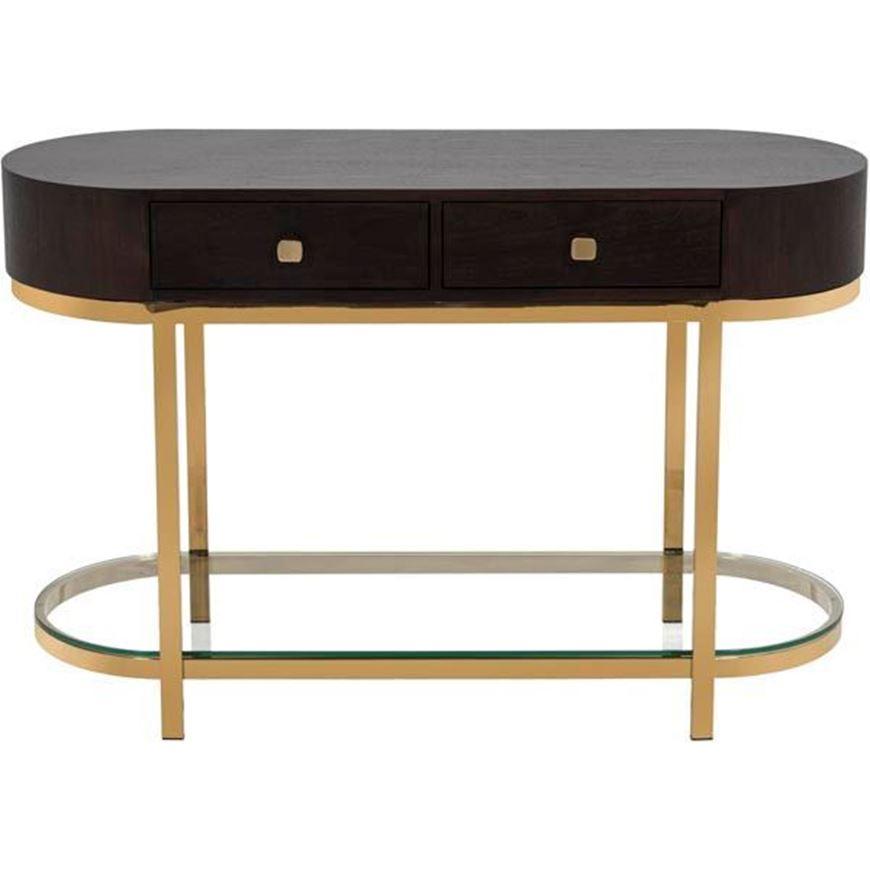 PAULO console 120x45 brown/gold