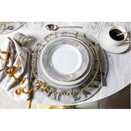 LINES dinner plate d27cm set of 4 white/silver