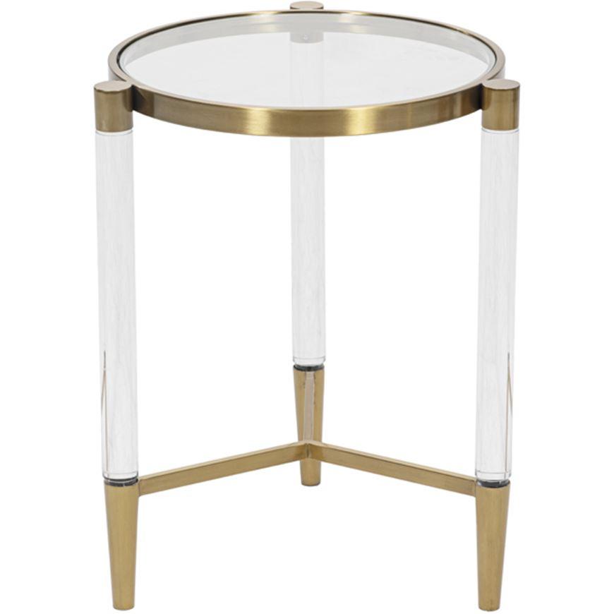 SLEEK side table d43cm clear/gold
