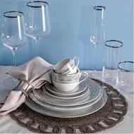 PLATIN stem glass h27cm set of 4 clear/silver