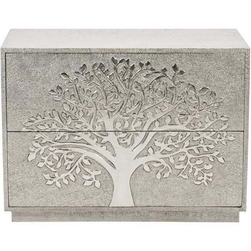 TREE of life chest 2 drawers silver