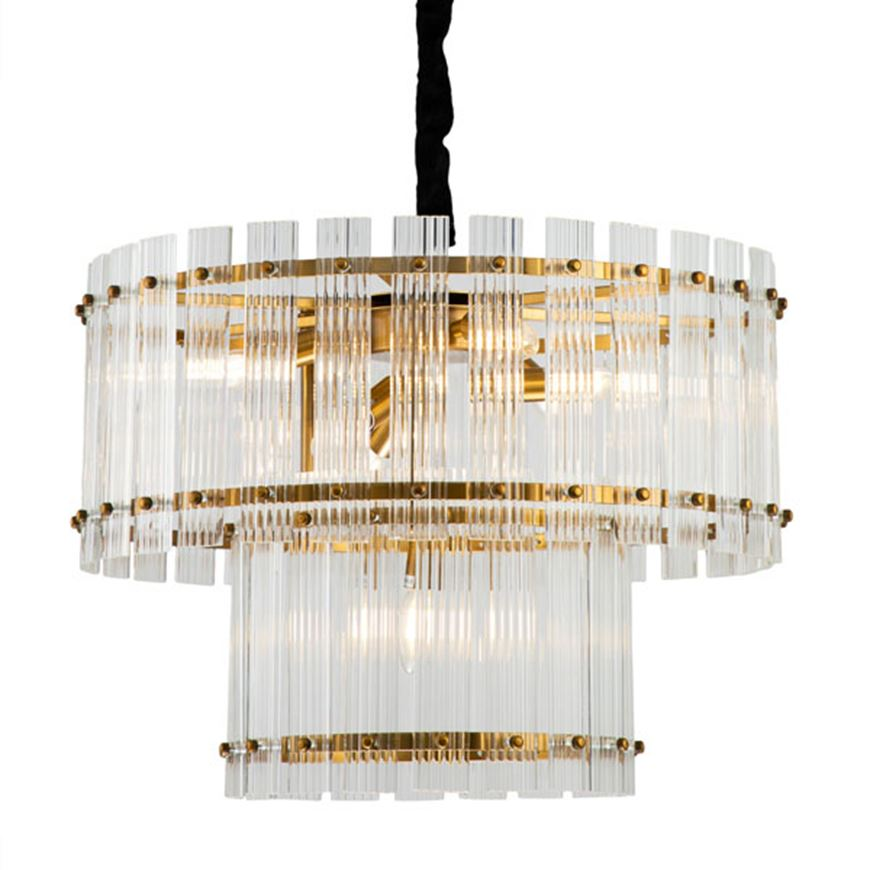 Picture of BRIGHT 7 chandelier d60cm clear/brass