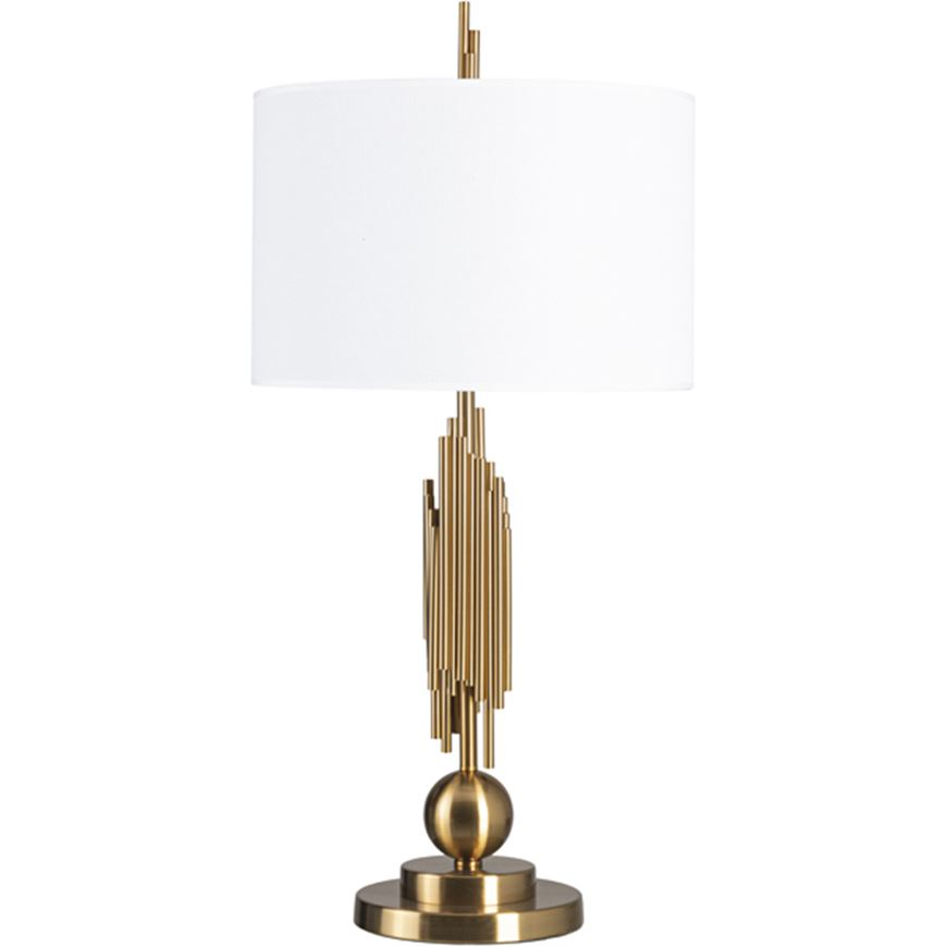 Picture of KUNST table lamp h81cm white/brass
