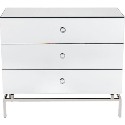BLOOM chest 3 drawers clear/silver