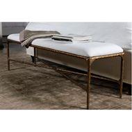 QUEEN stool 152x40 white/brass