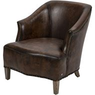LEWIS armchair leather brown