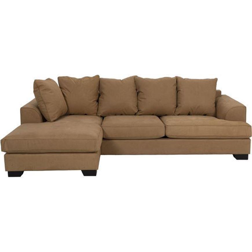 KINGSTON sofa 2.5 + chaise lounge Left microfibre light brown