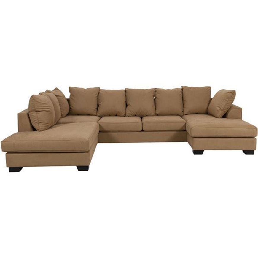 KINGSTON sofa U shape Left microfibre light brown