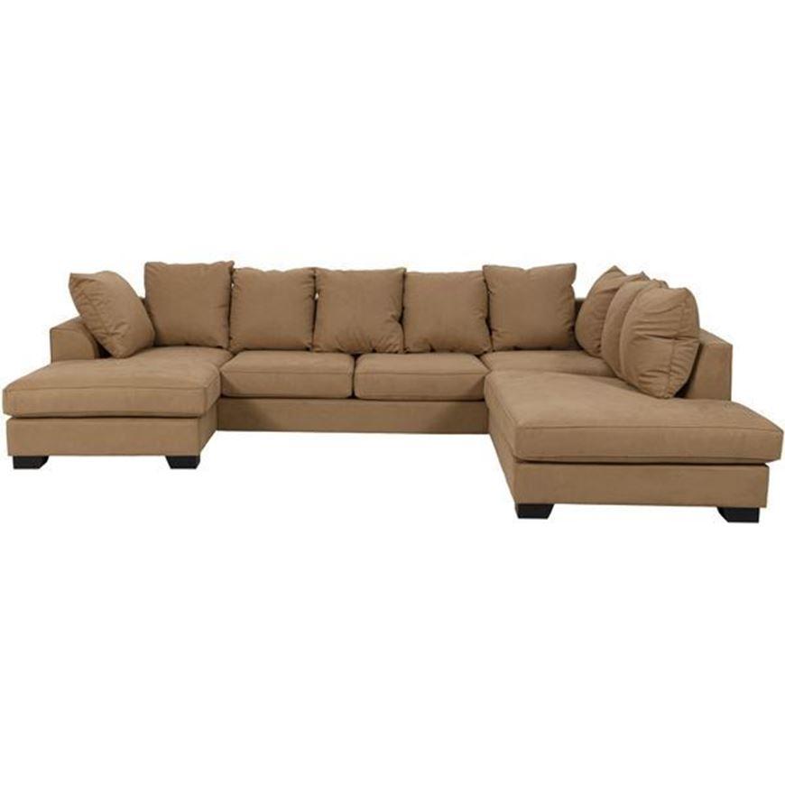 KINGSTON sofa U shape Right microfibre light brown